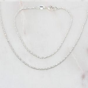 Glitzerkette und Armband 925 Silber