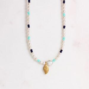 Handgemachte Perlenkette Goldenes Blatt