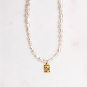 Handgemachte Perlenkette Goldene Madonna