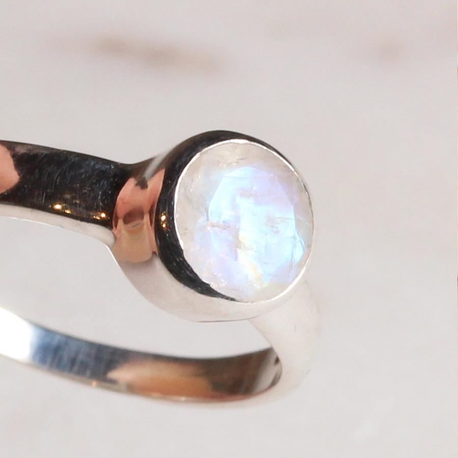Ring Regenbogenmondstein Silber