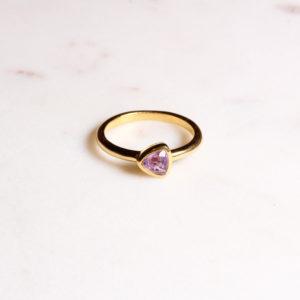 Amethyst Ring Triangel Gold