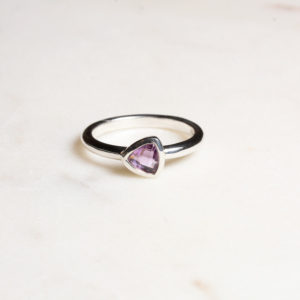 Amethyst Ring Triangel Silber