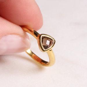 Rauchquarz Ring Triangel Gold