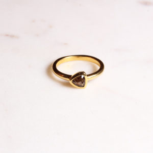 Rauchquarz Ring Triangel Gold