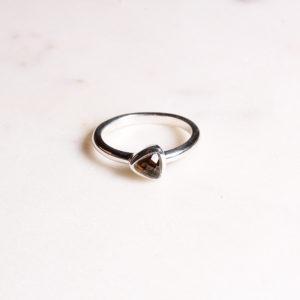 Rauchquarz Ring Triangel Silber