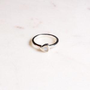 Regenbogen Mondstein ring Triangel Silber