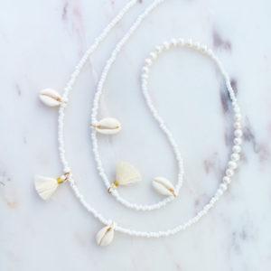 Muschel Brillenkette Weiß