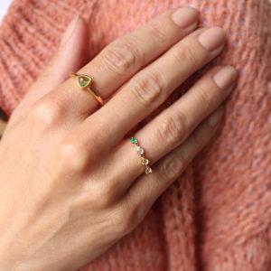 Labradorit Olivin Ring Gold
