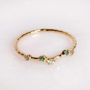Goldener Ring Labradorit, Onyx, Olivin