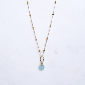 Aqua Chalcedon Kugelkette Gold 925 Silber