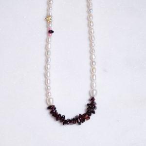 Perlenkette mit Granatsplitter 925 Silber