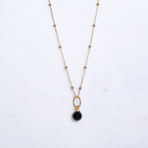 Onyx Kugelkette Gold 925 Silber