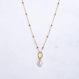 Süßwasserperle Kugelkette Gold 925 Silber