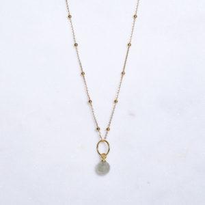 Phrenit Kugelkette Gold 925 Silber