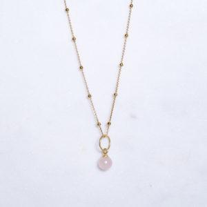 Rosenquarz Kugelkette Gold 925 Silber