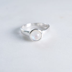 Regenbogen Mondstein Ring 925 Sillber