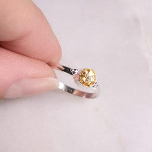 Dots Citrin Ring 925 Silber