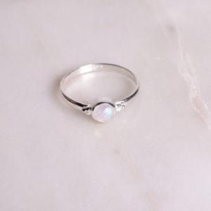 Dots Regenbogen-Mondstein Ring 925 Silber