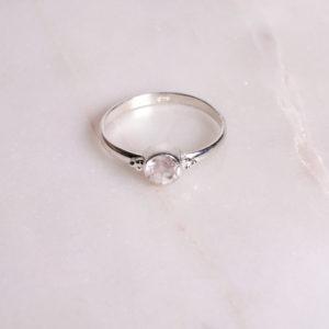 Dots Rosenquarz Ring 925 Silber