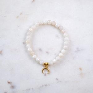 Mondstein Armband Mondsichel Gold
