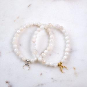 Mondstein Armband Mondsichel 925 Silber