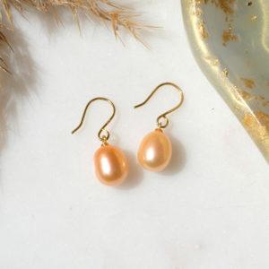 Perlenohrhänger Orange Gold