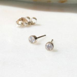 Ohrstecker Tiny Sparks Regenbogenmondstein 925 Silber